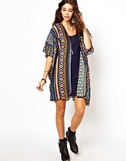 Band Of Gypsies Long Kimono Jacket In Mexican Aztec Print