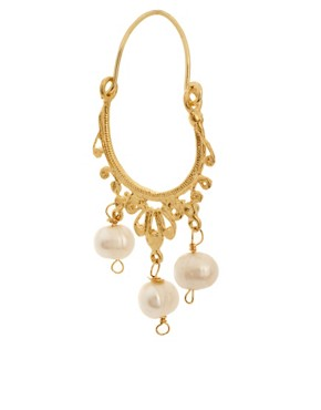 Image 3 ofOttoman Hands Pearl Hoop Earrings