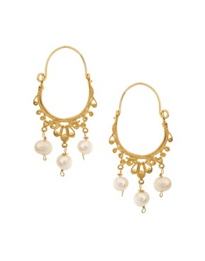 Image 1 of Ottoman Hands Pearl Hoop Earrings