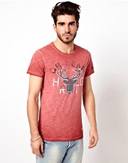 Pepe Heritage T-Shirt Lakeside Stag Print Slim Fit