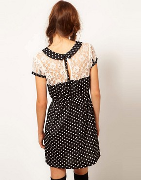 Image 2 ofInfluence Polka Dot &amp; Lace Tea Dress