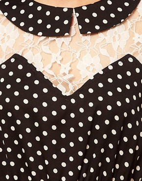 Image 3 ofInfluence Polka Dot &amp; Lace Tea Dress