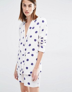 Selected Fria Polka Dot  3/4 Sleeve Blazer