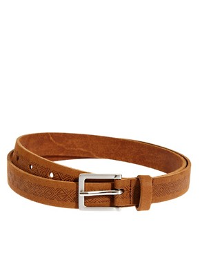 Image 1 ofASOS Leather Aztec Emboss Chino Belt