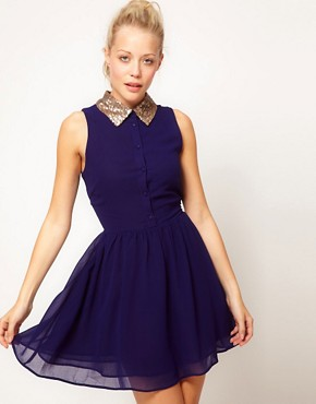 Image 1 ofGlamorous Sequin Collar Shirt Dress