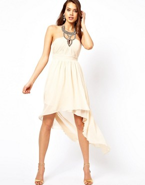 Image 1 ofLittle Mistress Embellished Collar Hi Lo Dress