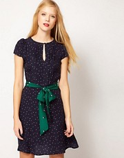 Sessun Dress in Polka Dot Silk with Bird Print Belt