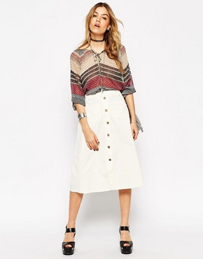 ASOS Reclaimed Vintage Button Through Midi Skirt In Baby Cord