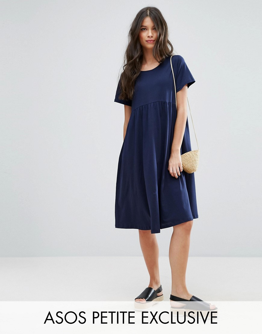 ASOS PETITE Ultimate Midi Smock Dress - Navy