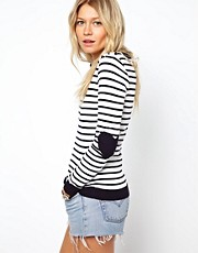 ASOS Striped Sweater With Heart Elbow Patch