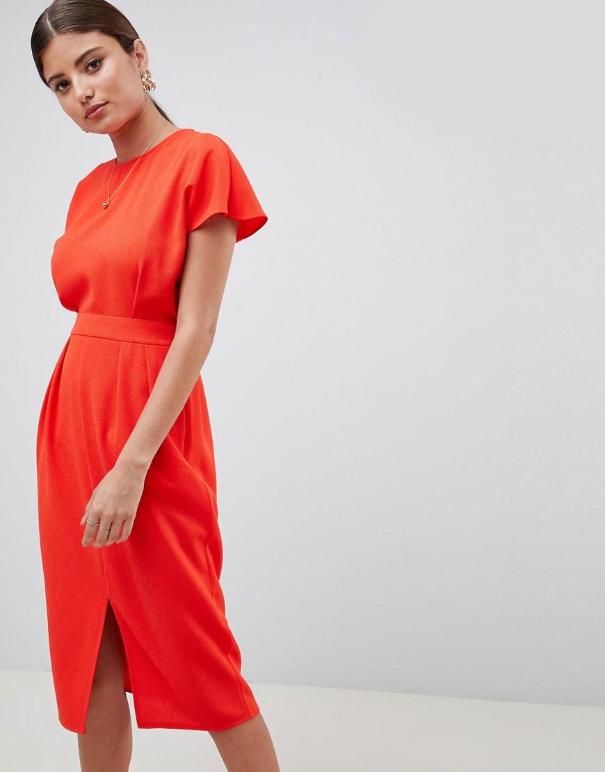 photo Wrap Back Midi Pencil Dress by ASOS DESIGN, color Blood Orange - Image 1