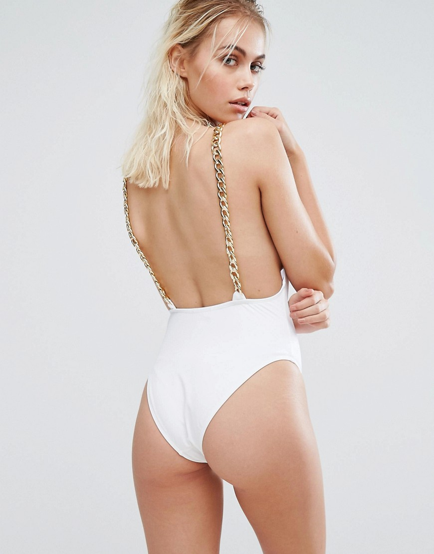 PrettyLittleThing Chain Strap Swimsuit