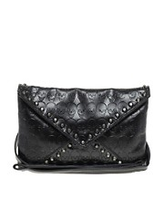 Liquorish Clutch Bag With Embossed Skull And Studs