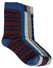 ASOS 5 Pack Socks With Rugby Stripes