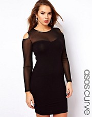 ASOS CURVE Exclusive Bodycon Dress With Mesh Cold Shoulder