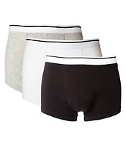 ASOS Three Pack Trunks With White Waistband
