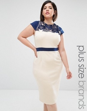 Little Mistress Plus Embroidered Pencil Dress