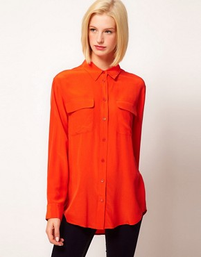 Image 1 ofEquipment Signature 2 Pocket Silk Shirt in Chilli