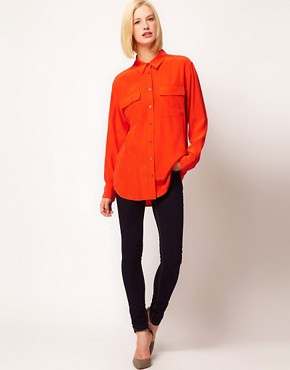 Image 4 ofEquipment Signature 2 Pocket Silk Shirt in Chilli