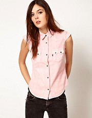 Levi&#39;s Pink Short Sleevess Shirt