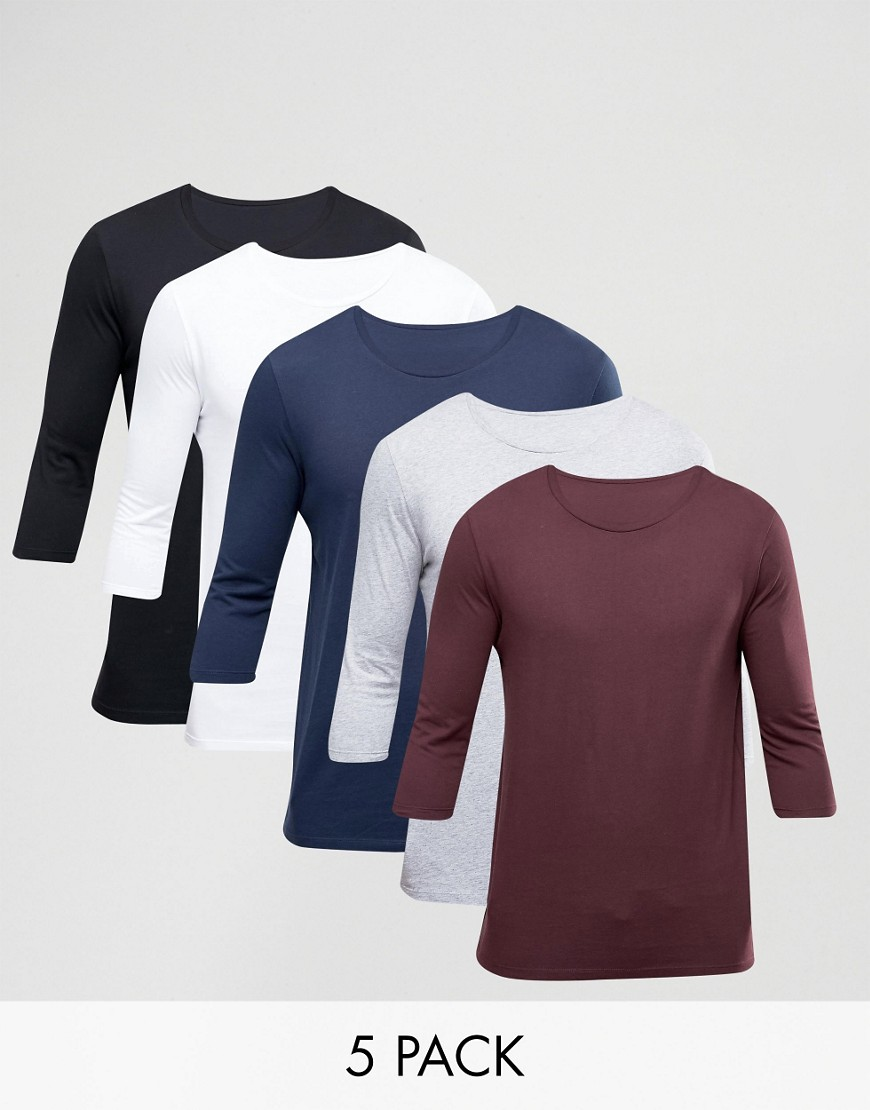 ASOS 3/4 Sleeve T-Shirt With Crew Neck 5 Pack - Multi