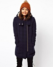 ASOS Grandi Marche - Parka pied de poule con fodera in sherpa