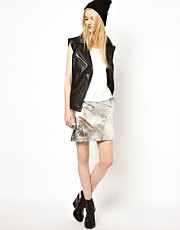 HIDE Mini Skirt in Silver Leather
