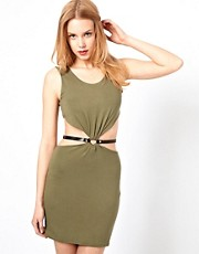 Love Cut Out Detail Dress With Waist Belt