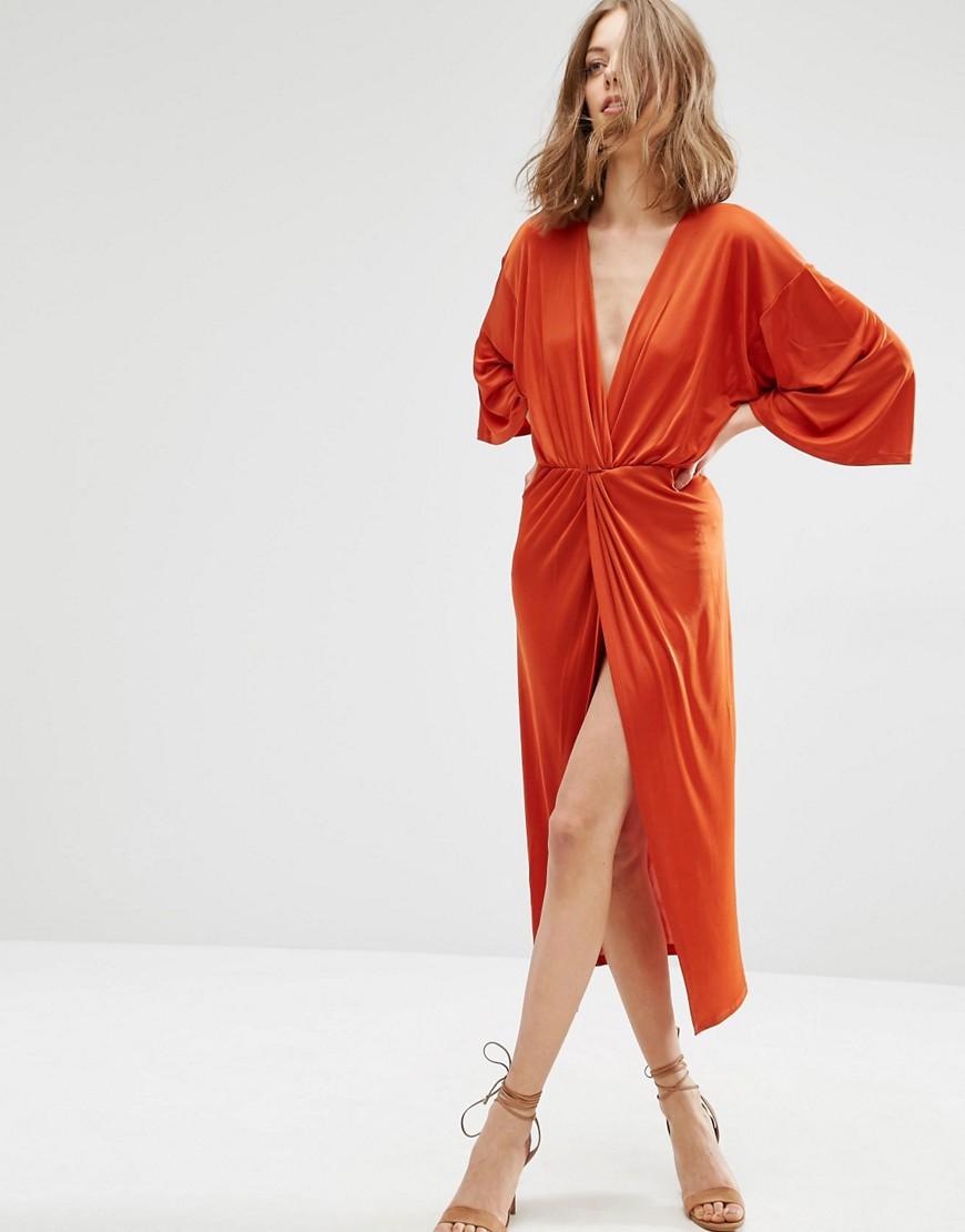First & I V Neck Midi Dress - Red