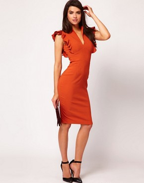 Image 4 ofHybrid Dress with Deep V Neck and Frill Sleeves