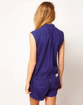Image 2 ofG-Star Button Down Playsuit With Tie Waist