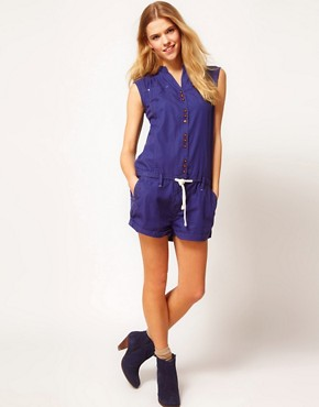 Image 4 ofG-Star Button Down Playsuit With Tie Waist