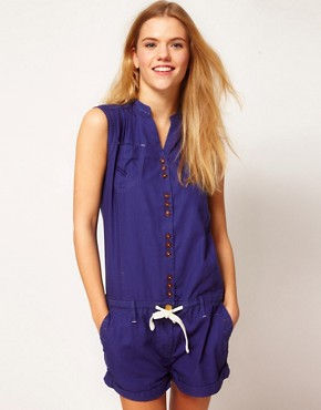 Image 1 ofG-Star Button Down Playsuit With Tie Waist