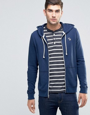 Abercrombie & Fitch Zip Through Hoodie Lightweight Terry Navy In Muscle Slim fit