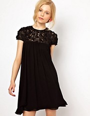 Lydia Bright Swing Dress with Applique Detail