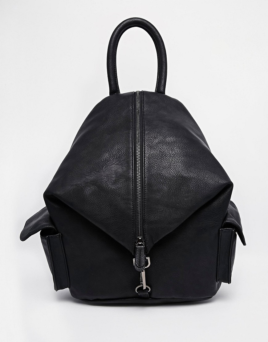 ASOS Front Zip Backpack With Dog Clip And Pockets