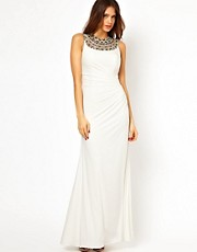 Forever Unique Maxi Dress with Crystal Necklace and Ruching