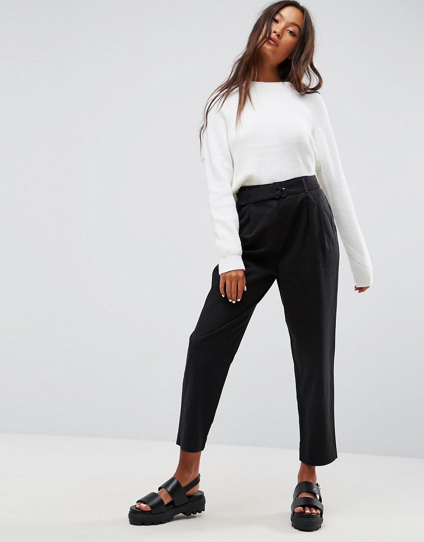 ASOS Tapered High Waist Chino Trousers with Belt - Black