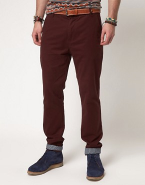Image 1 ofASOS Slim Chinos With Turn Up