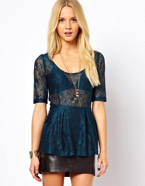 Only Sammy 3/4 Length Sleeved Lace Top at ASOS :  lace top sheer pleats