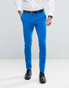 ASOS WEDDING Super Skinny Suit Trousers In Bright Blue