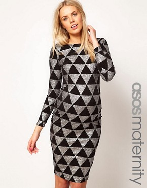 Image 1 ofASOS Maternity Bodycon Dress In Sparkle Print