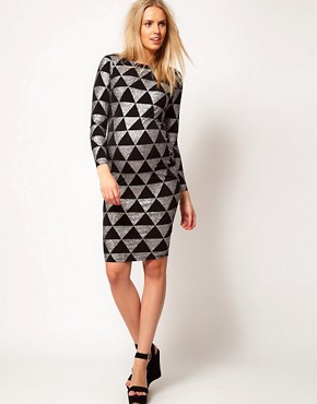 Image 4 ofASOS Maternity Bodycon Dress In Sparkle Print