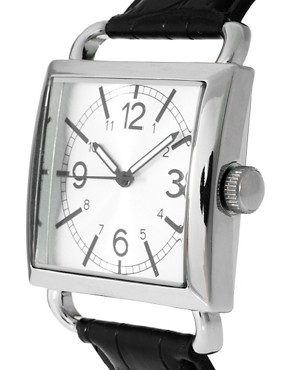 Image 3 ofASOS Square Face Croc Strap Watch