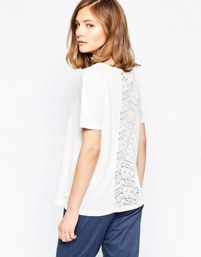 JDY Kimmie Shirt with Lace Back Insert In White
