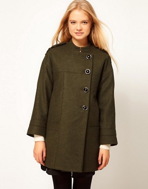 Image 1 ofASOS Button Front Cocoon Coat