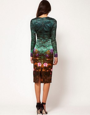 Image 2 ofASOS Premium Midi Pencil Dress in Forest Print