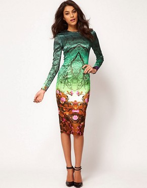 Image 4 ofASOS Premium Midi Pencil Dress in Forest Print