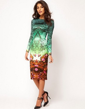 Image 1 ofASOS Premium Midi Pencil Dress in Forest Print