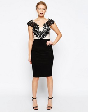 Jessica Wright Pearl Pencil Dress with Lace Panel Detail